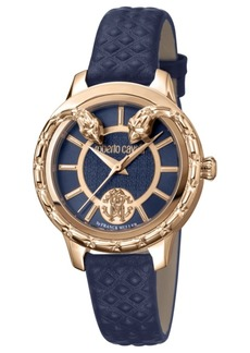 Roberto Cavalli By Franck Muller Women's Swiss Quartz Blue Calfskin Leather Strap Watch, 34mm