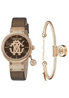 Roberto Cavalli By Franck Muller Women's Swiss Quartz Brown Calfskin Leather Strap Watch & Bracelet Gift Set, 34mm