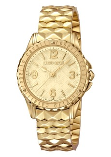 Roberto Cavalli By Franck Muller Women's Swiss Quartz Gold Stainless Steel Bracelet Gold Dial Watch, 34mm