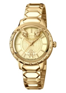 Roberto Cavalli By Franck Muller Women's Swiss Quartz Gold Stainless Steel Bracelet Watch, 34mm