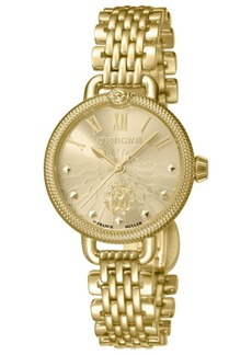 Roberto Cavalli By Franck Muller Women's Swiss Quartz Gold-Tone Stainless Steel Bracelet Watch, 30mm