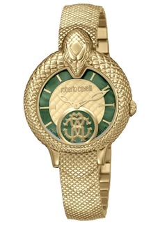 Roberto Cavalli By Franck Muller Women's Swiss Quartz Gold-Tone Stainless Steel Bracelet Watch, 34mm