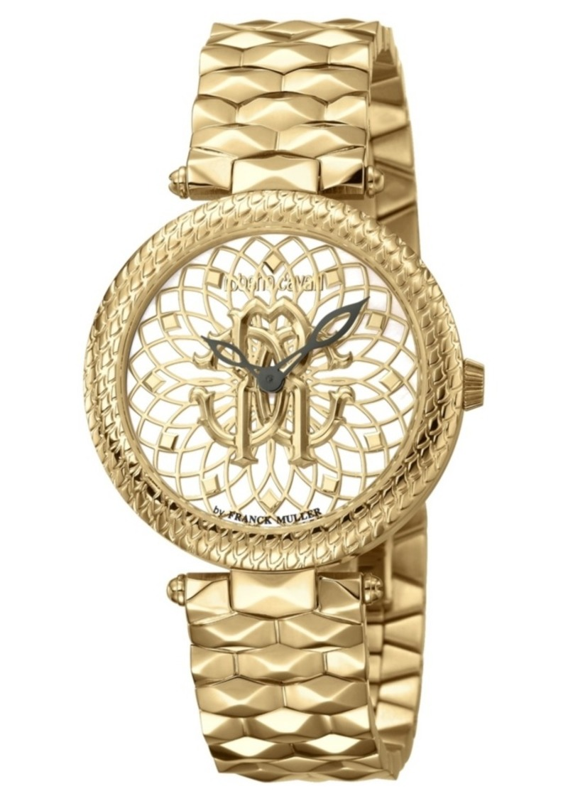 Roberto Cavalli By Franck Muller Women's Swiss Quartz Gold-Tone Stainless Steel Gold Dial Bracelet Watch, 34mm