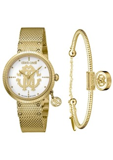 Roberto Cavalli By Franck Muller Women's Swiss Quartz Gold-Tone Stainless Steel Watch & Bracelet Gift Set, 34mm