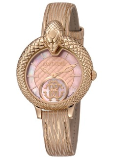 Roberto Cavalli By Franck Muller Women's Swiss Quartz Metallic Rose Calfskin Leather Strap Watch, 34mm