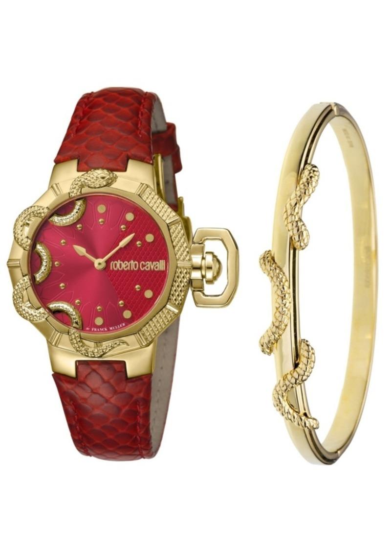 Roberto Cavalli By Franck Muller Women's Swiss Quartz Red Calfskin Leather Strap Watch & Bracelet Gift Set, 34mm