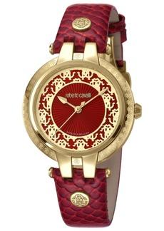 Roberto Cavalli By Franck Muller Women's Swiss Quartz Red Calfskin Leather Strap Watch, 34mm
