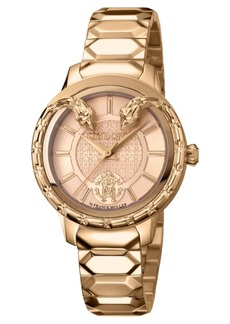 Roberto Cavalli By Franck Muller Women's Swiss Quartz Rose-Tone Stainless Steel Bracelet Watch, 34mm