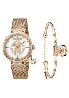 Roberto Cavalli By Franck Muller Women's Swiss Quartz Rose-Tone Stainless Steel Watch & Bracelet Gift Set, 34mm