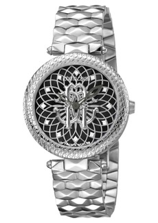 Roberto Cavalli By Franck Muller Women's Swiss Quartz Silver Stainless Steel Bracelet Black Dial Watch, 34mm