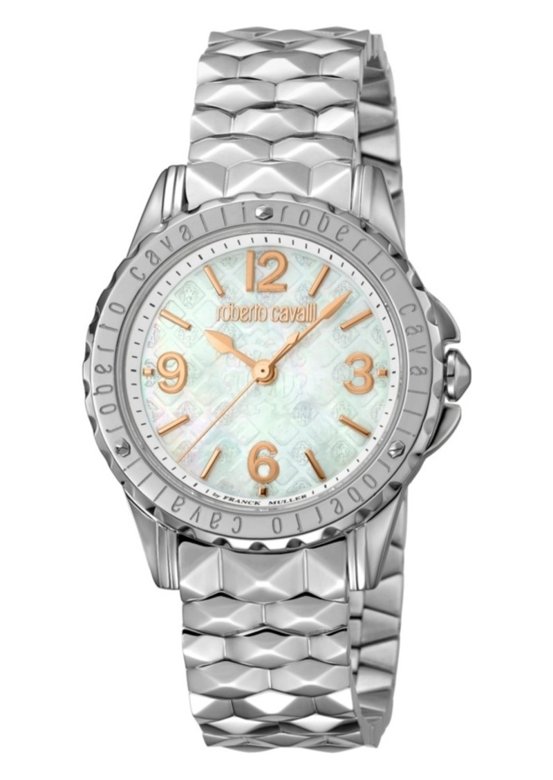 Roberto Cavalli By Franck Muller Women's Swiss Quartz Silver Stainless Steel Bracelet Mother Of Pearl Dial Watch, 34mm