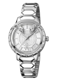 Roberto Cavalli By Franck Muller Women's Swiss Quartz Silver Stainless Steel Bracelet Watch, 34mm