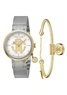 Roberto Cavalli By Franck Muller Women's Swiss Quartz Silver Stainless Steel Watch & Bracelet Gift Set, 34mm