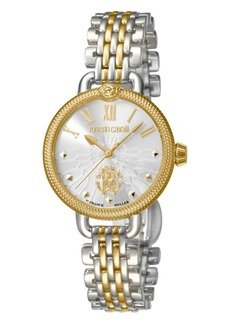 Roberto Cavalli By Franck Muller Women's Swiss Quartz Two-Tone Gold Stainless Steel Bracelet Watch, 30mm
