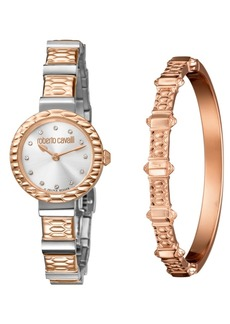 Roberto Cavalli By Franck Muller Women's Swiss Quartz Two-Tone Rose Gold Stainless Steel Watch & Bracelet Gift Set, 26mm
