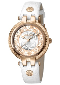 Roberto Cavalli By Franck Muller Women's Swiss Quartz White Calfskin Leather Strap Watch, 34mm