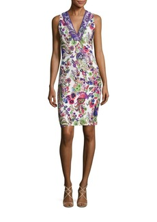 Roberto Cavalli Cady Lace Applique Floral-Print Sheath Dress