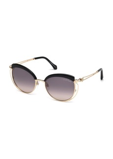 Roberto Cavalli Capped Metal Butterfly Sunglasses  Rose Gold