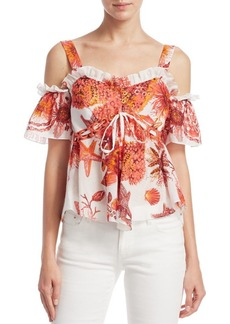 Roberto Cavalli Cold-Shoulder Drawstring Blouse