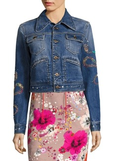 Roberto Cavalli Cropped Denim Jacket