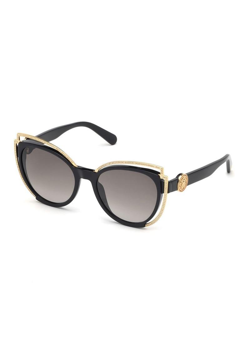 Roberto Cavalli Crystal Studded Cat-Eye Sunglasses