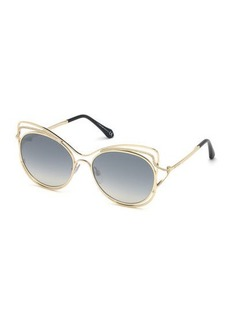 Roberto Cavalli Crystal-Trim Mirrored Cat-Eye Sunglasses