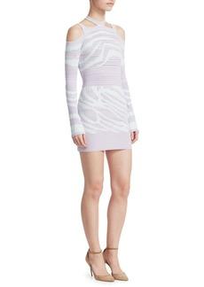 Roberto Cavalli Cut Out Shoulder Zebra Print Bodycon Dress