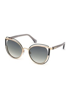Roberto Cavalli Cutout Cat-Eye Metal Sunglasses