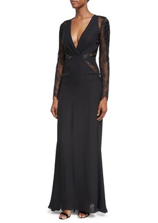 Roberto Cavalli Deep V-Neck Lace-Inset Gown