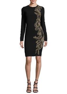 Roberto Cavalli Embellished Long-Sleeve Sheath Dress