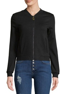 Roberto Cavalli Embroidered Full Zip Cotton Hoodie