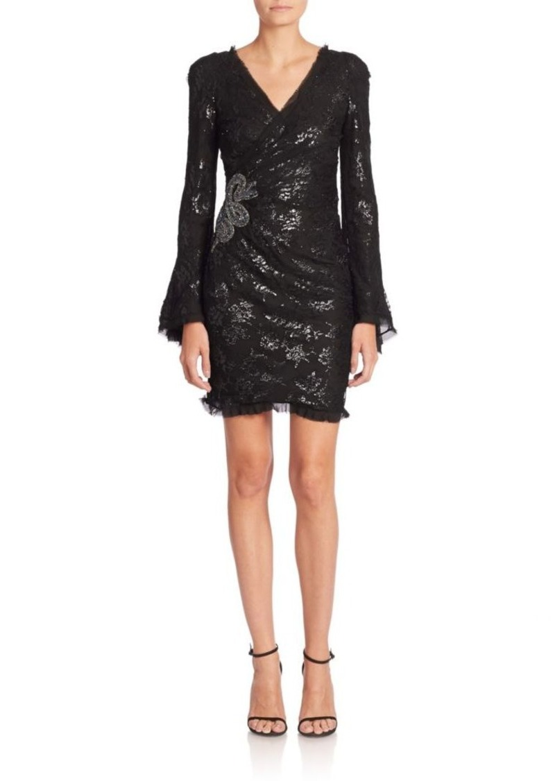 Roberto Cavalli Embroidered Lace Wrap Dress