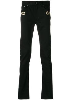 Roberto Cavalli embroidered skinny jeans - Black
