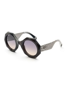 Roberto Cavalli Faceted Round Mirrored Sunglasses