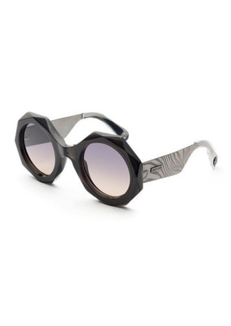 Roberto Cavalli Faceted Round Mirrored Sunglasses