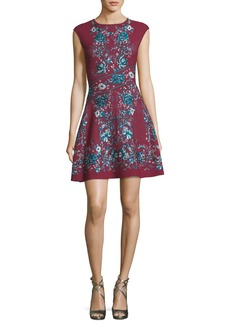 Roberto Cavalli Forbidden Fruit Cap-Sleeve Fit & Flare Dress