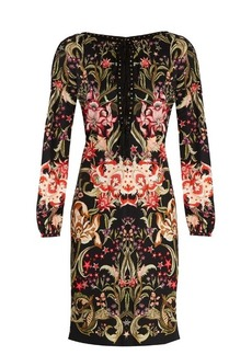 Roberto Cavalli Galaxy Garden-print lace-up jersey dress