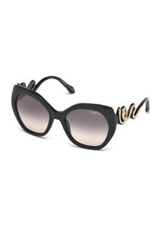 Roberto Cavalli Geometric Snake Sunglasses  Black