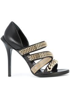 Roberto Cavalli gold-chain strappy sandals - Black