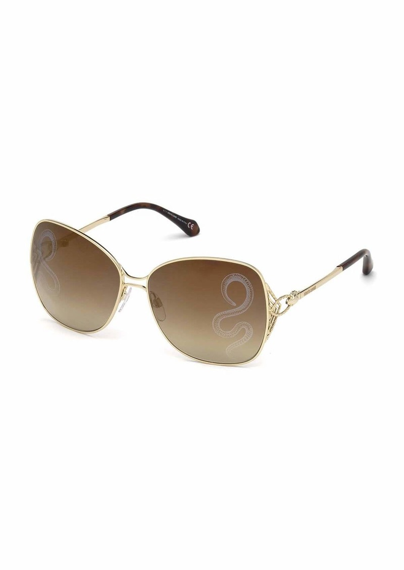 Roberto Cavalli Gradient Butterfly Sunglasses w/ Snake Lenses