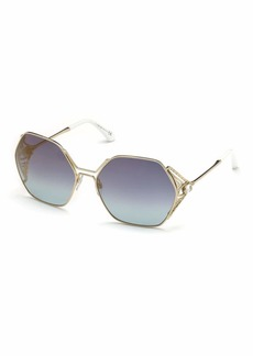 Roberto Cavalli Hexagon Gradient Metal Sunglasses  Blue