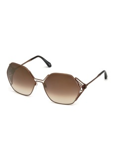 Roberto Cavalli Hexagon Gradient Metal Sunglasses  Brown