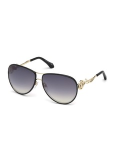 Roberto Cavalli Intertwining Gradient Aviator Sunglasses  Black