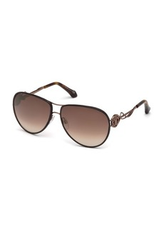 Roberto Cavalli Intertwining Gradient Aviator Sunglasses  Brown