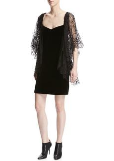 Roberto Cavalli Lace Flutter-Sleeve Velvet Cocktail Dress