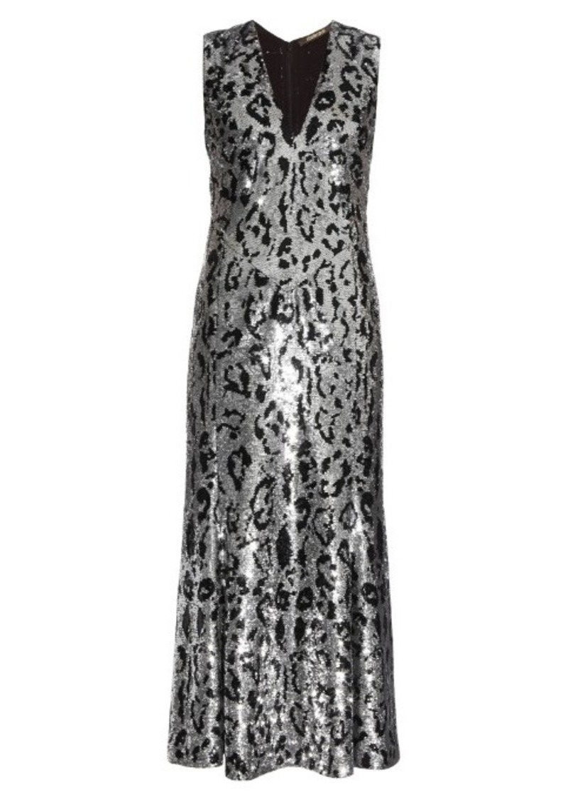 Roberto Cavalli Leopard-print sequin-embellished midi gown
