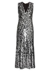 Roberto Cavalli Leopard-print sequin-embellished midi gown