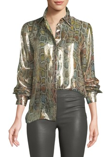 Roberto Cavalli Long-Sleeve Metallic Python-Print Blouse