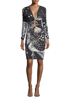 Roberto Cavalli Long-Sleeve Plunging Abstract-Print Dress