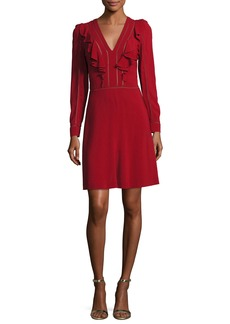 Roberto Cavalli Long-Sleeve V-Neck Ruffle Dress